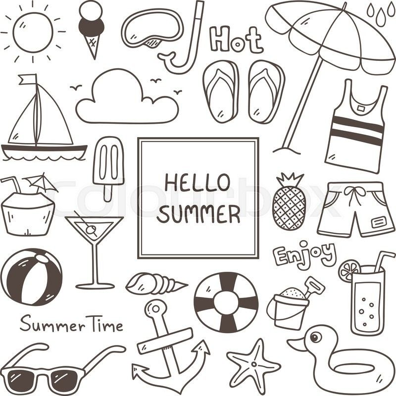 Summer Doodles Summer Icon Set Hand Drawn Doodle Icon Stock