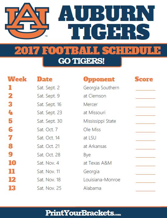 University Of Alabama Football Schedule 2017 >> Printable Aubur Tigers Football Schedule Sec Football 2017 18