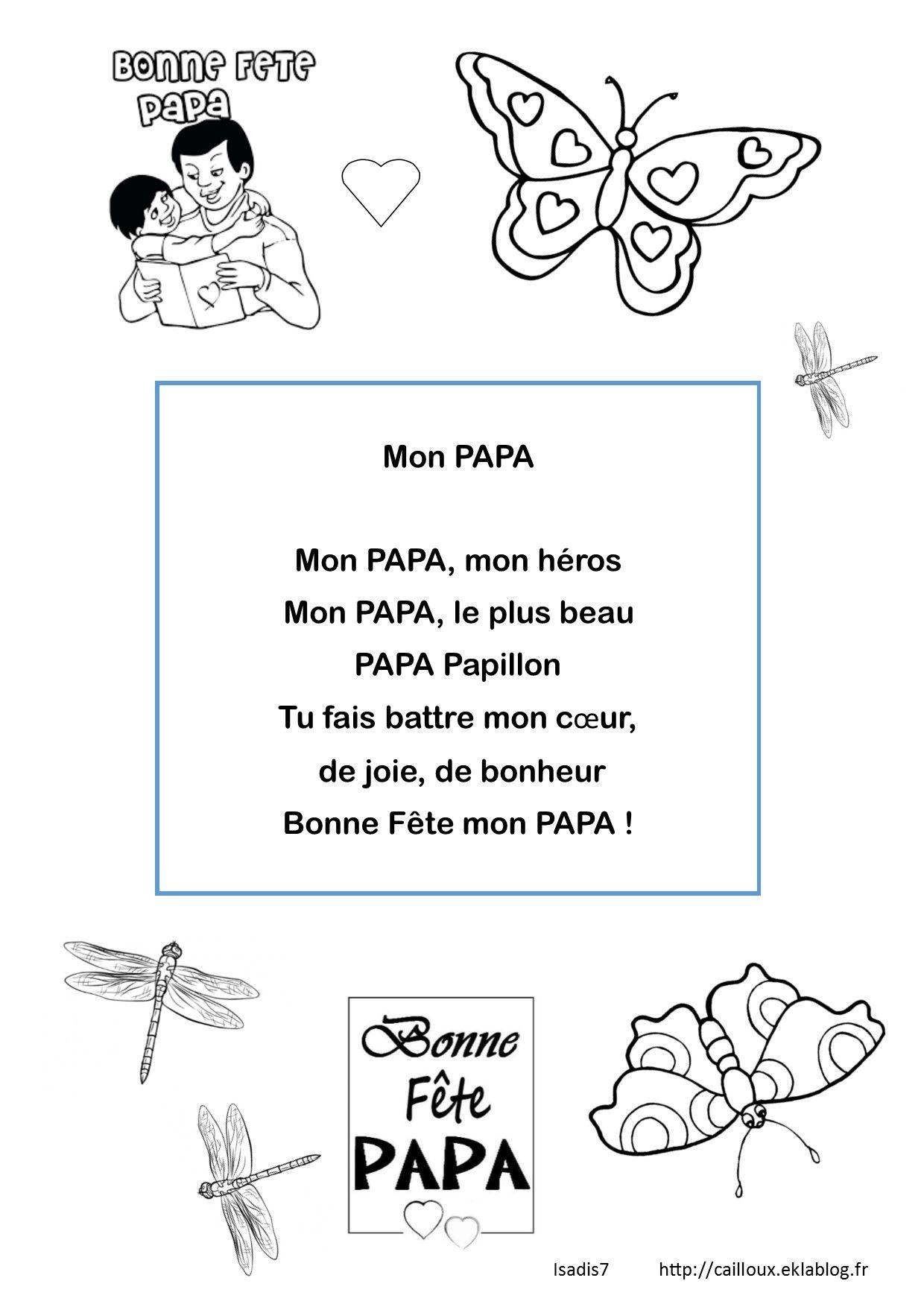 Papa Papillon La Maternelle Disadis7 Poème Fête Des