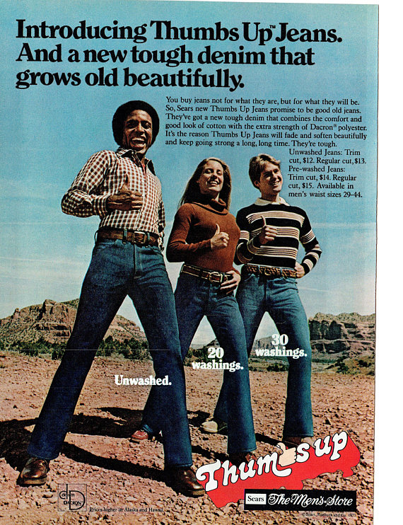 4f973c7d 1977 Advertisement Sears Thumbs Up Jeans Tough 70s Womens Mens Style Fashion  Clothing Department Sto