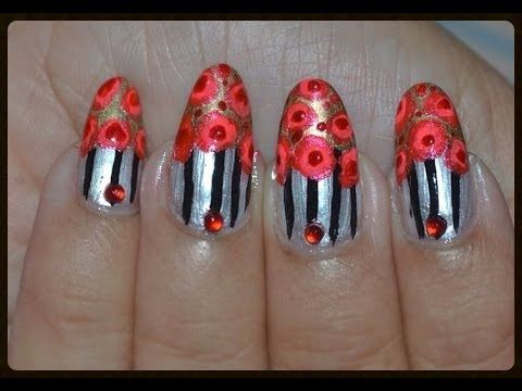 Easy Hand Painted Nail Art Vintage Floral Nail Design Nail Art