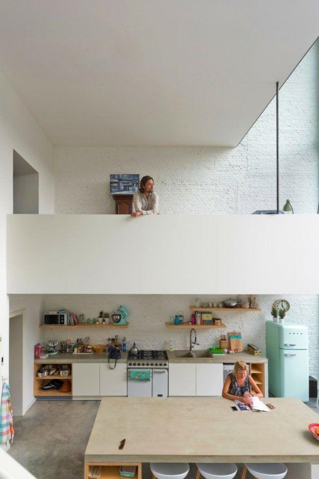 mobile-kücheninsel-einrichtung-idee-balkon-weiss-wandfarbe | Küche ...