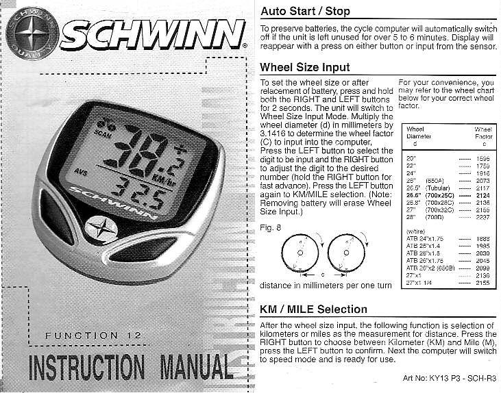 Experimenters Corner Schwinn 12 Function Bicycle Computer Manual Schwinn Bicycle Computers Cycling Computer