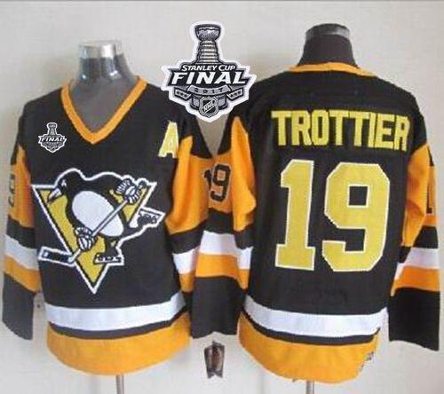 Penguins  19 Bryan Trottier Black CCM Throwback 2017 Stanley Cup Final  Patch Stitched NHL Jersey e78df0d46