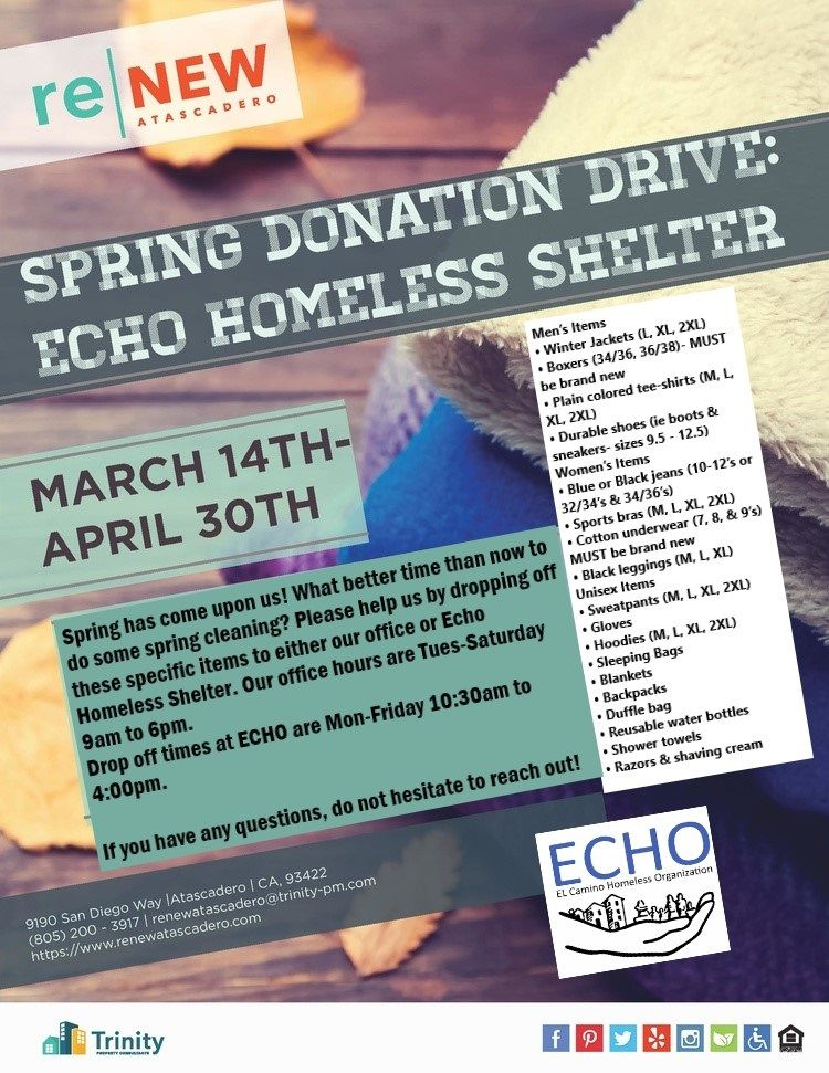 Attention Future Current Residents We Are Collecting Items To Donate To Echo Homeless Shelter Renew Atascadero Is A P Atascadero Bedroom Floor Plans Renew