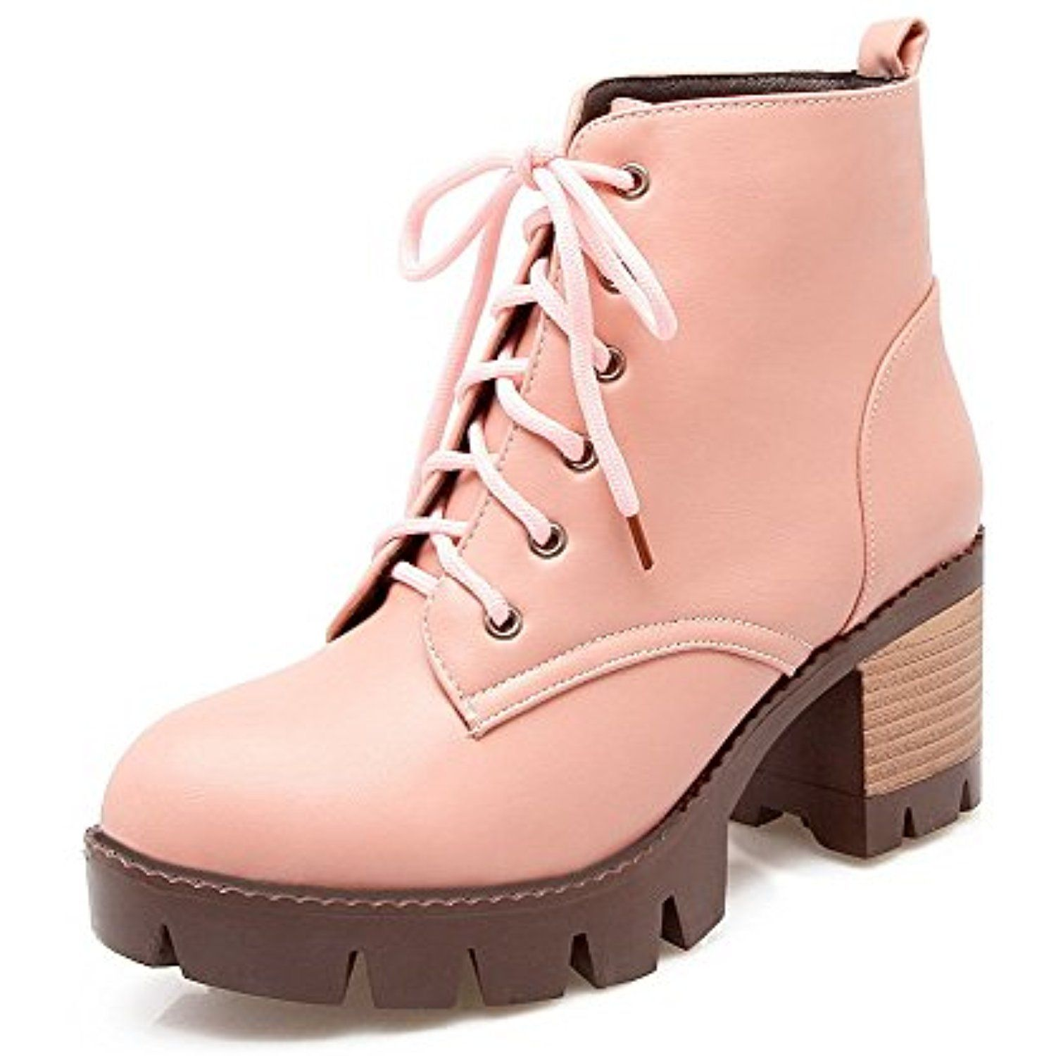 Women's Round Closed Toe Low Top Kitten Heels Solid PU Boots With Lace