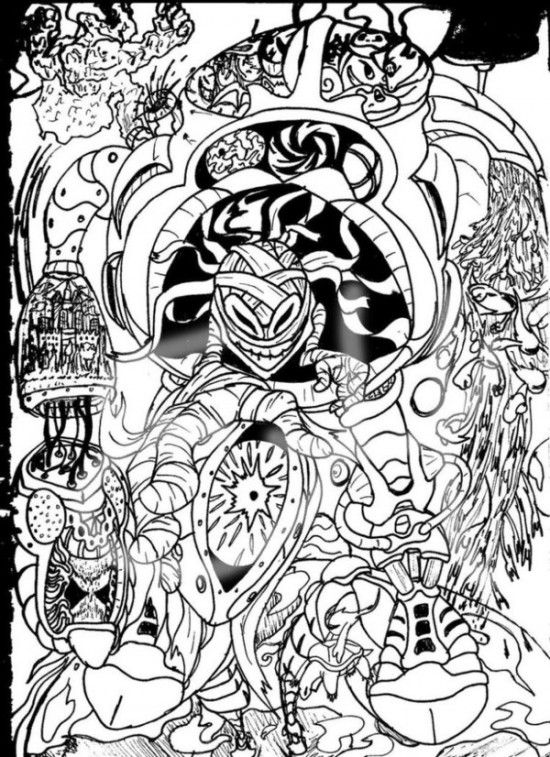 Sketch Cool Trippy Coloring Pages Picture 7 550x757 picture ...