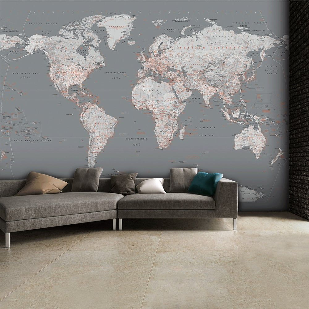 Detailed silver grey world map feature wall wallpaper - Feature wall ideas living room wallpaper ...