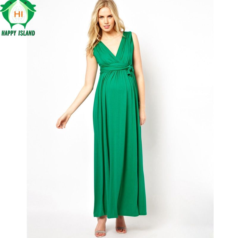 0fcae435c7de2 Happy Lovely Brand Maternity Clothes V-Neck Long Evening Gowns Dress ...