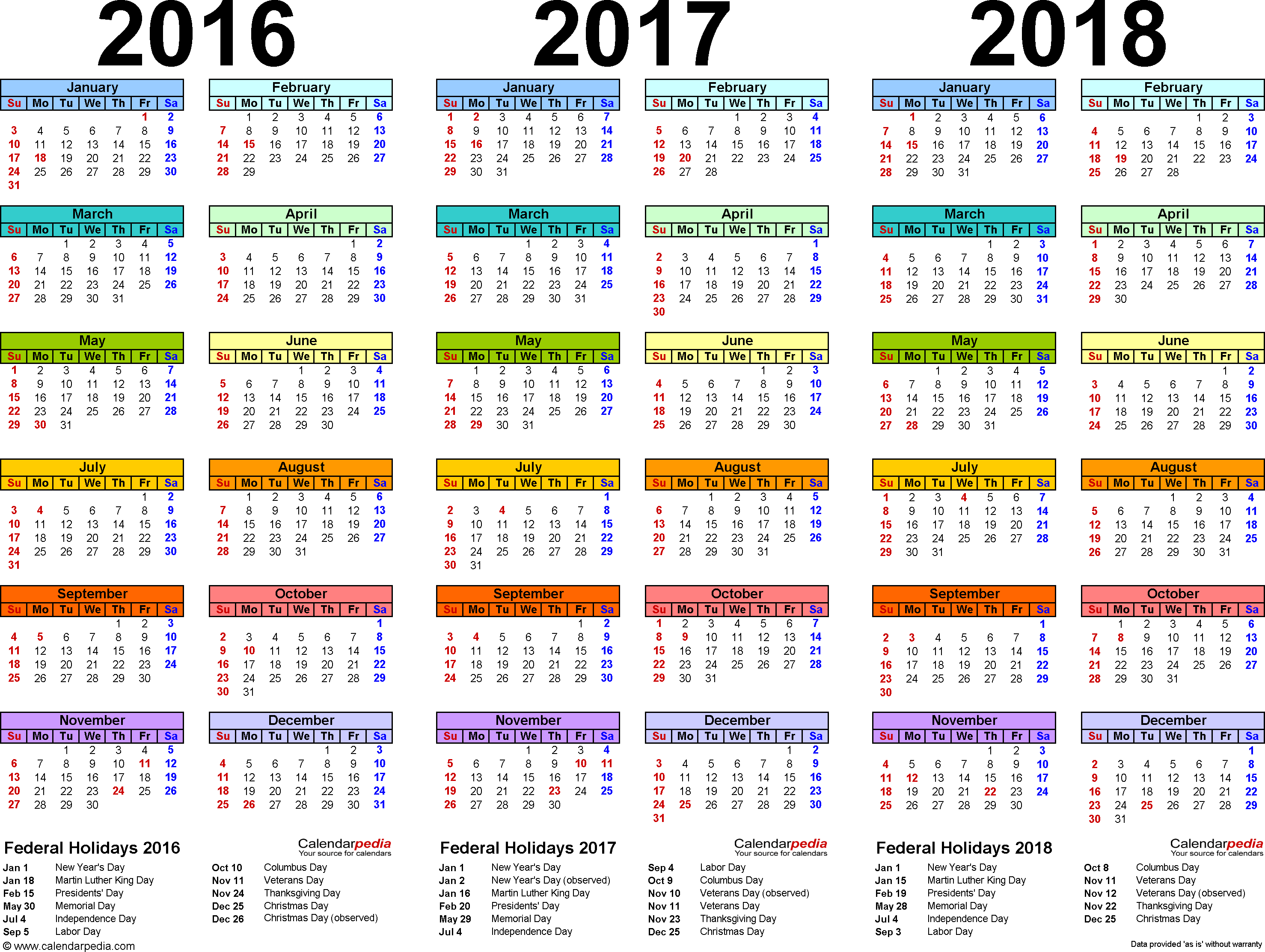 2016 2017 2018 Calendar 4 Three Year Printable Pdf Calendars Calendar Printables Calendar Template Printable Calendar Template