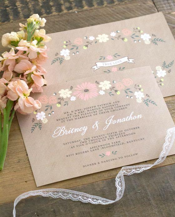 Cheap Shabby Chic Wedding Invitations: Country Chic Wedding Invitations