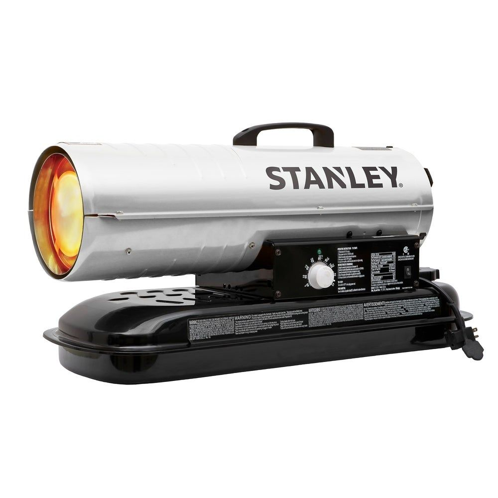 Stanley 80 000 Btu Outdoor Kerosene Diesel Space Heater Adjustable Thermostat Utility Silver Forced Air Flame Metal Assembly Required Portable Propane Heater Oil Heater Air Pressure Gauge