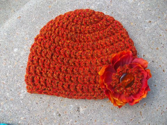 Fire Tweed Crochet Baby Hat with Detachable by AngieHallHaviland, $11.00