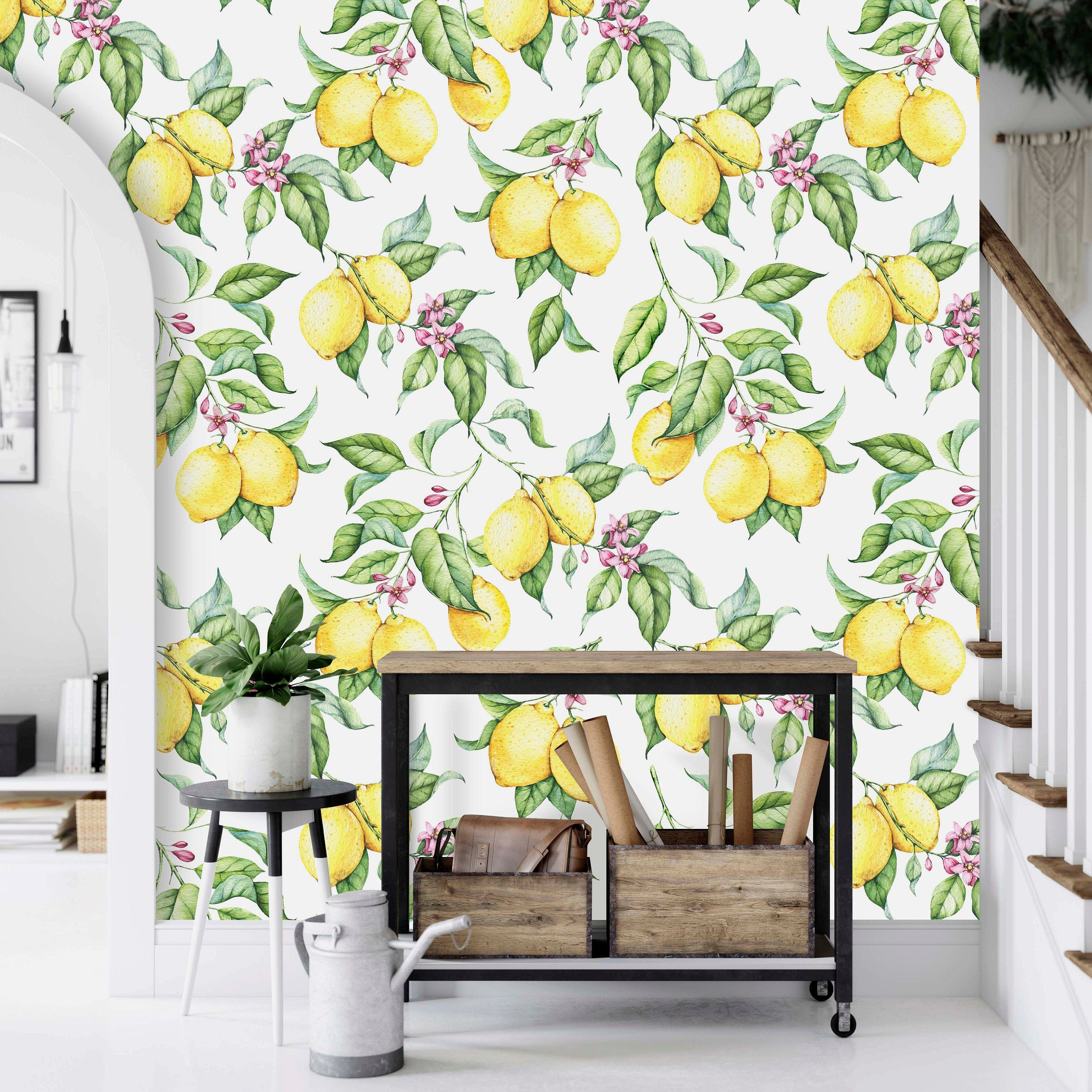 Vibrant Lemons Peel Stick Removable Wallpaper Mural By Green Planet Transform Your Home Into Your Ow Orange Peel Wall Texture Vinyl Wallpaper Cleaning Walls