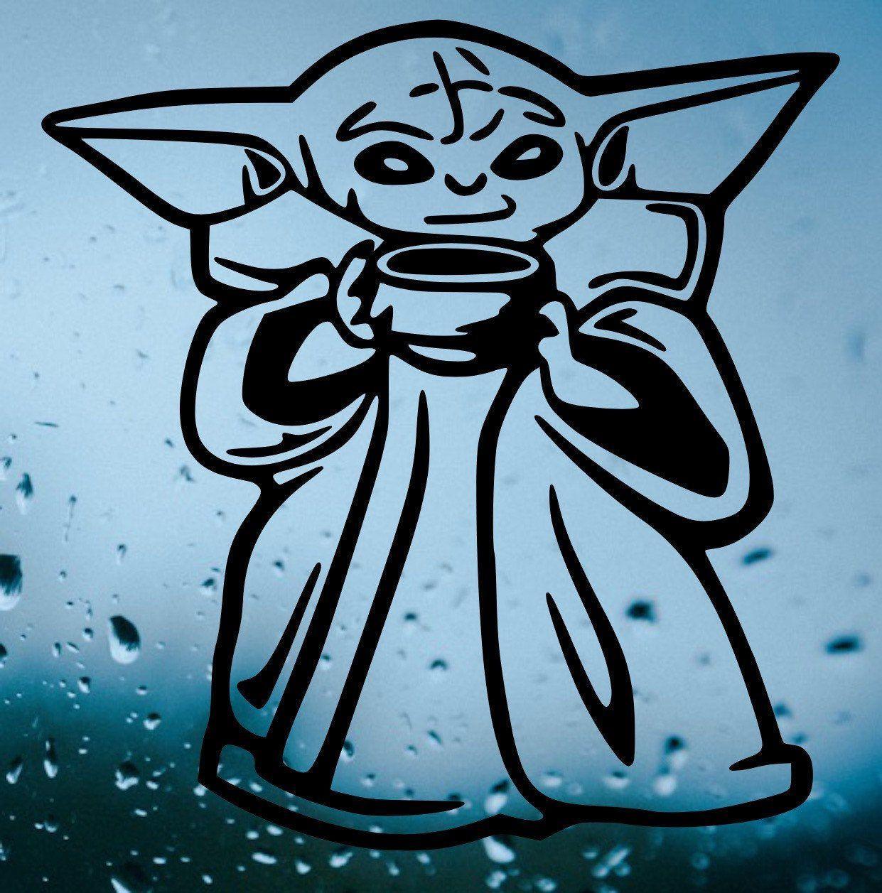 Baby Yoda Decal Baby Yoda Sticker Baby Yoda Coffee Baby Yoda Vinyl Baby Yoda Sipping T Memes Da Marvel