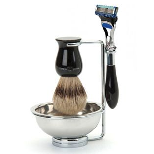 Plaza Ebony, Fusion Pro-glide Shaving Set:  This exquisite four piece Plaza shaving set comprises imitation ebony & chrome Gillette, Fusion Pro-glide razor. Best badger shaving brush, chrome plated double wire stand and shaving bowl.