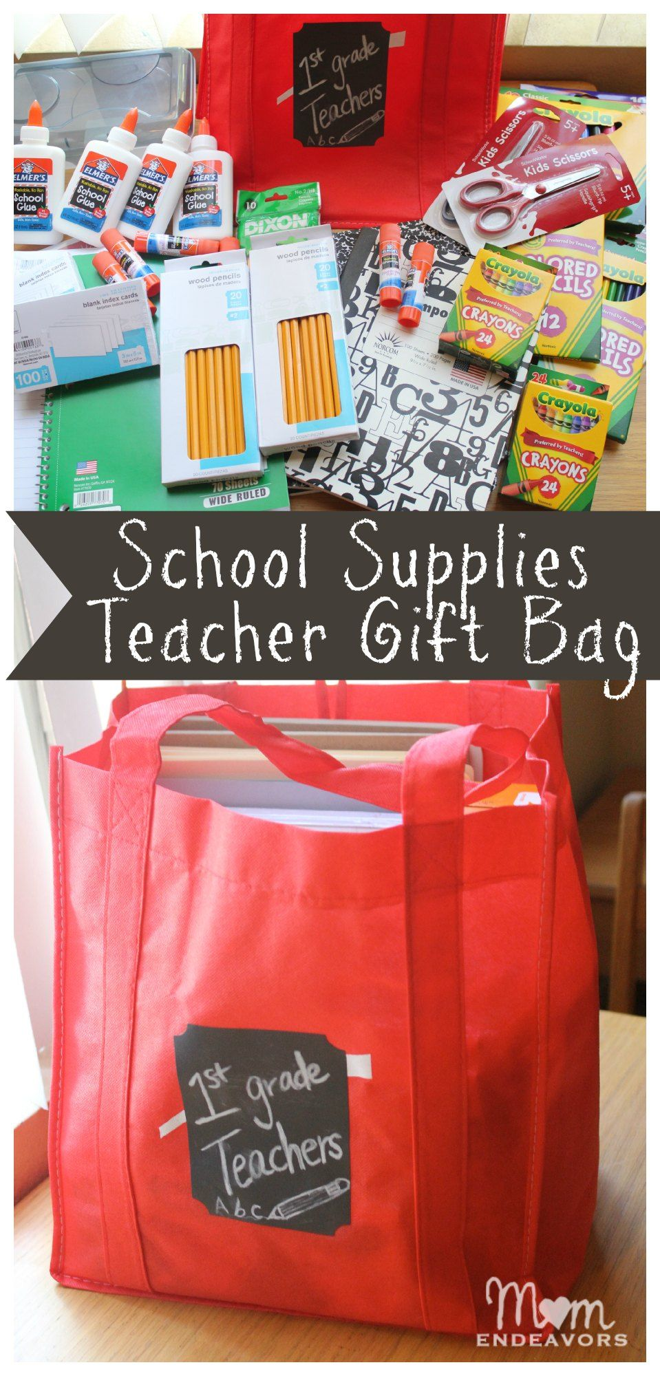 Bags for school teachers - Make A School Supplies Teacher Gift Bag To Donate To Your School Such A Great