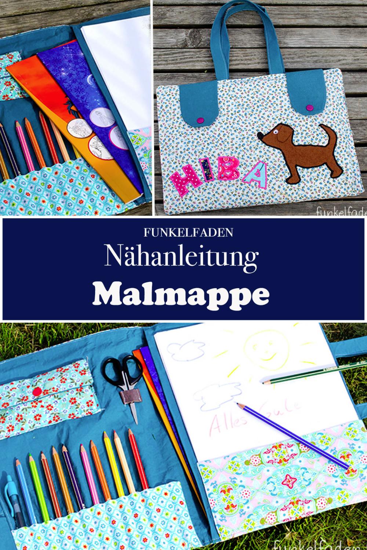 Freebook zum Nähen - Eine Malmappe für Kinder, in der Stifte, Papier und