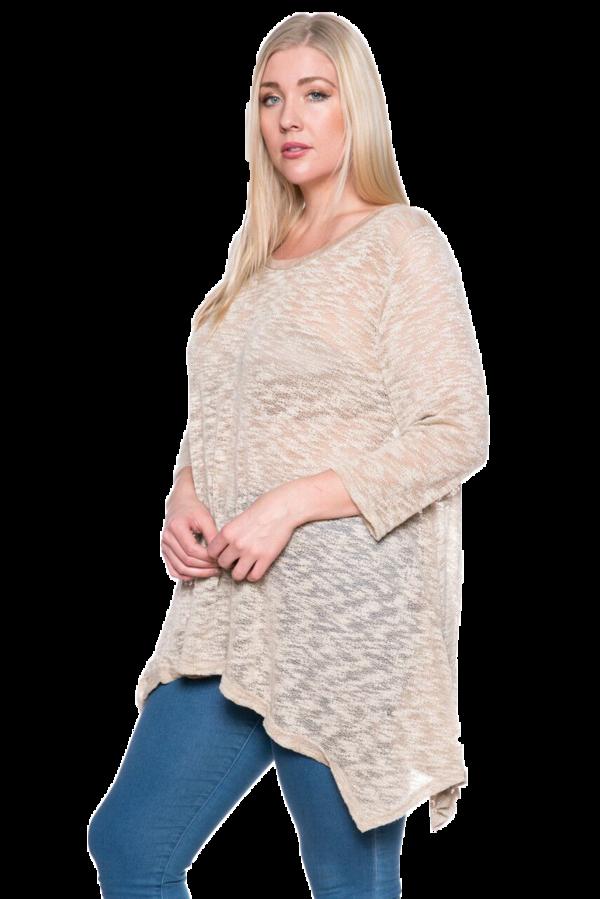 ac37fd33edb Women's Casual Crew Neck Knit Loose Fit Plus Size Top Mocha Made in USA  (XL,2XL,3XL)