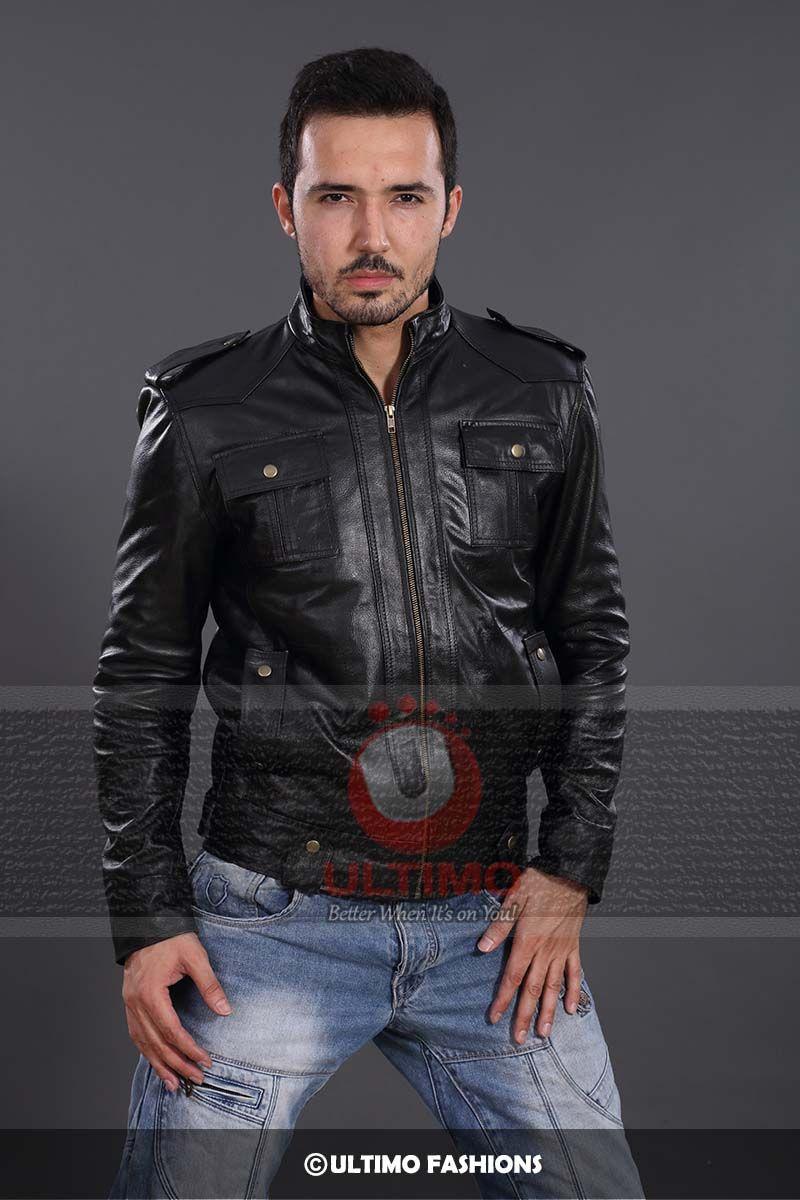 Slimfit Rider Button Pocket Leather JacketJacket Features