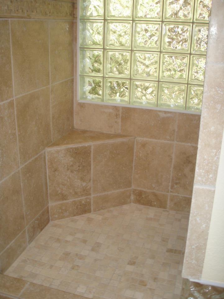 Custom tile seat in a walk in shower | showers | Pinterest | Bath ...