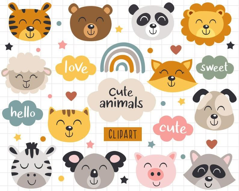 Animal Head Clipart Bear Svg Baby Animals Clipart Cat Svg Face Etsy In 2021 Animal Heads Animal Clipart Clip Art