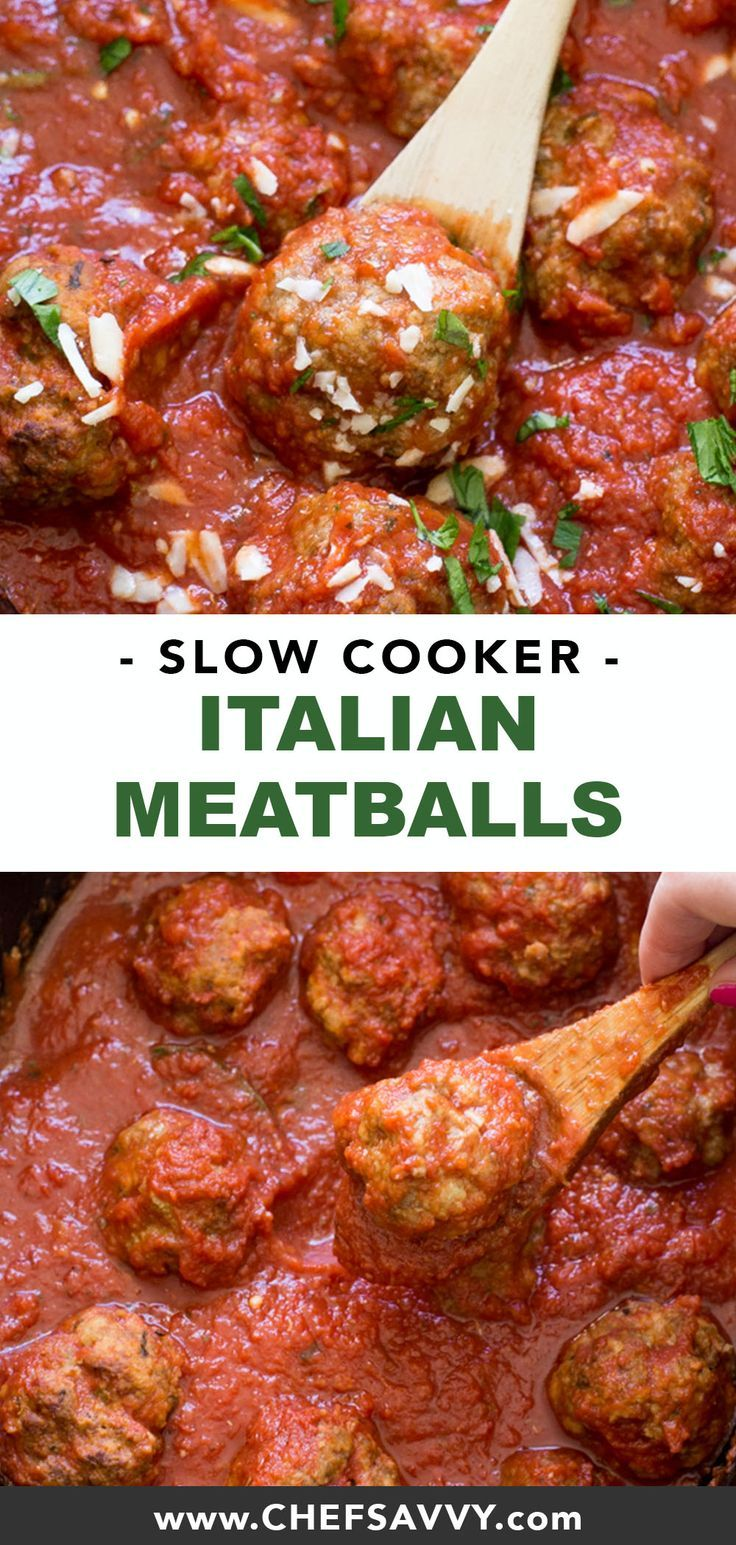 Slow Cooker Italian Meatballs (Video!) - Chef Savvy