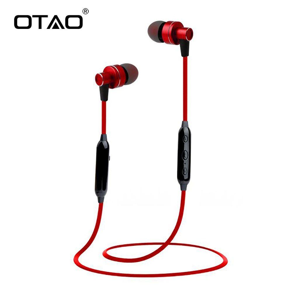 6065ac5e217 Cheap OTAO Wireless Bluetooth Earphones For Mobile Phone Handsfree Sport In-Ear  Stereo Earbuds Super Bass Earphone