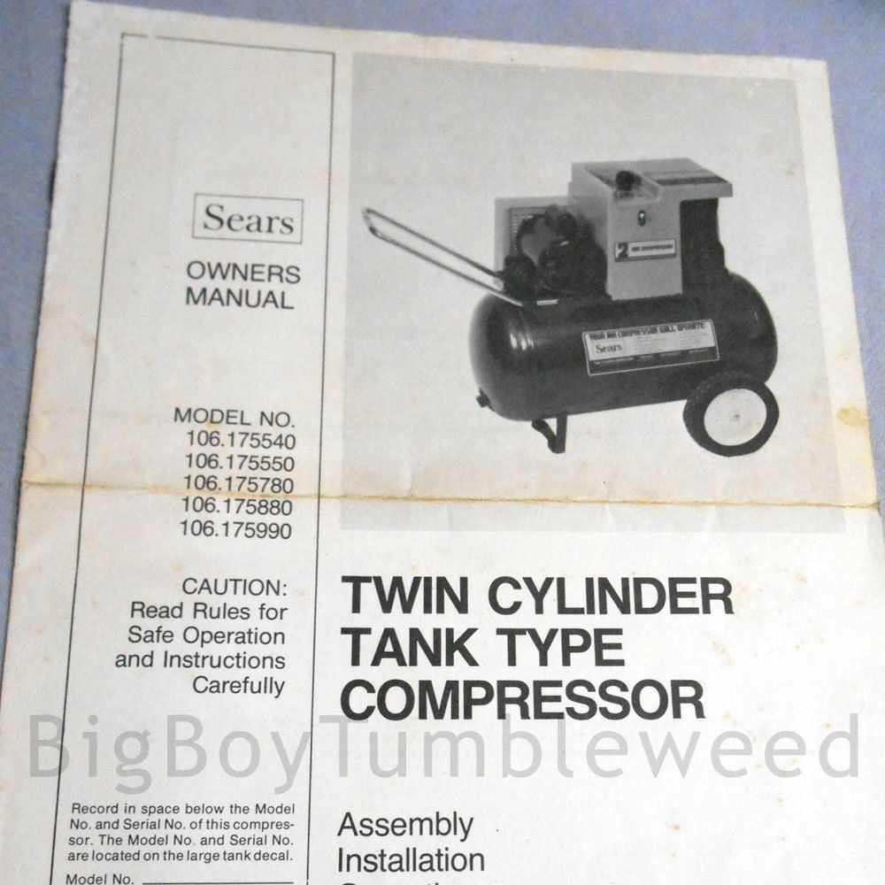 VINTAGE OWNERS MANUAL 1978 SEARS Twin Cylinder Tank Type