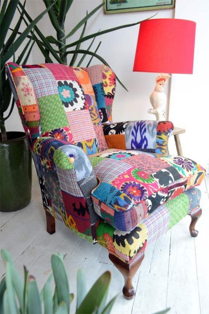 Le fauteuil patchwork une pi ce boho chic pour faire votre int rieur vibrer - Fauteuil original salon ...