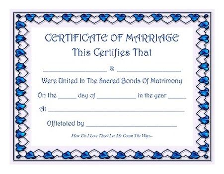 Keepsake Marriage Certificate with blue sapphire hearts border - sample marriage certificate