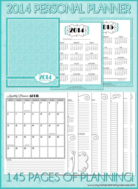 2014 (JAN-DEC) Personal Monthly/Weekly Planner - Printable Instant