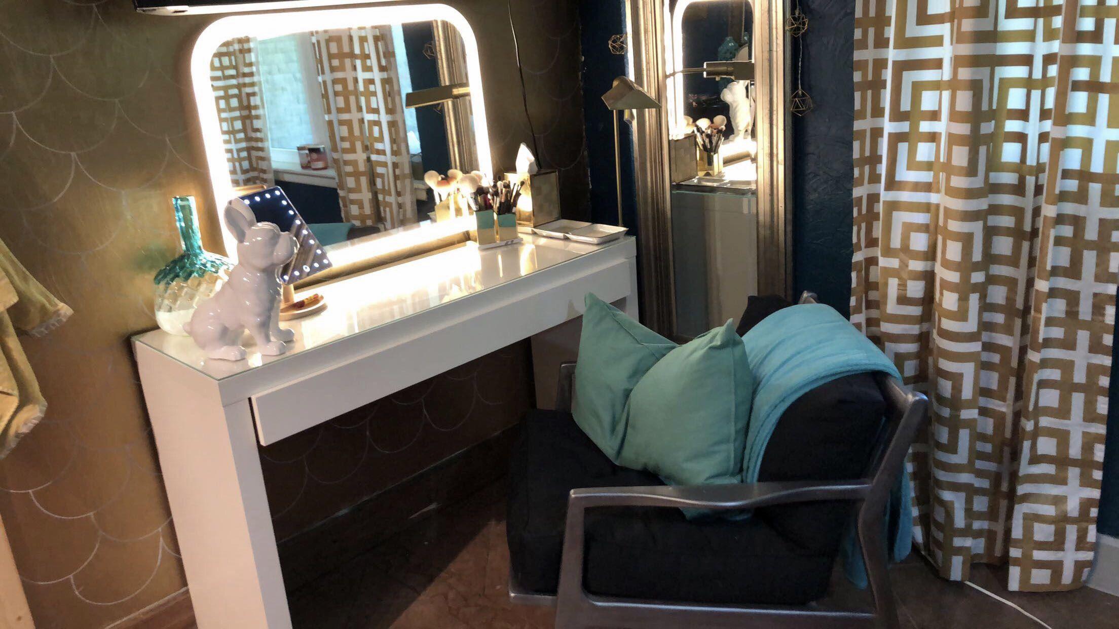 Love my new vanity set up ikeavanity storjorm gold vanity blue