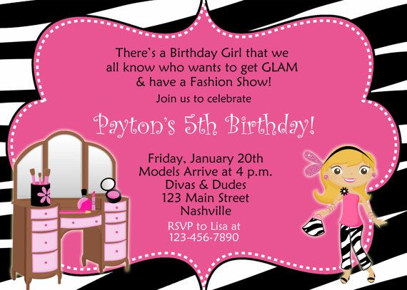 Glamour Party Birthday Invitation printable custom invitation
