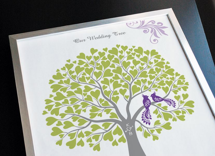 Wedding Tree with Peacocks Guest Book Alternative, Wedding Gift, Anniversary or Engagement Gift, Customize with Your Own Colors,11x14