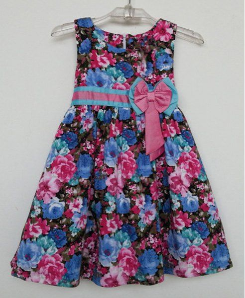 Cute Sleeveless Bowknot Design Floral Print Flare Dress For Girls