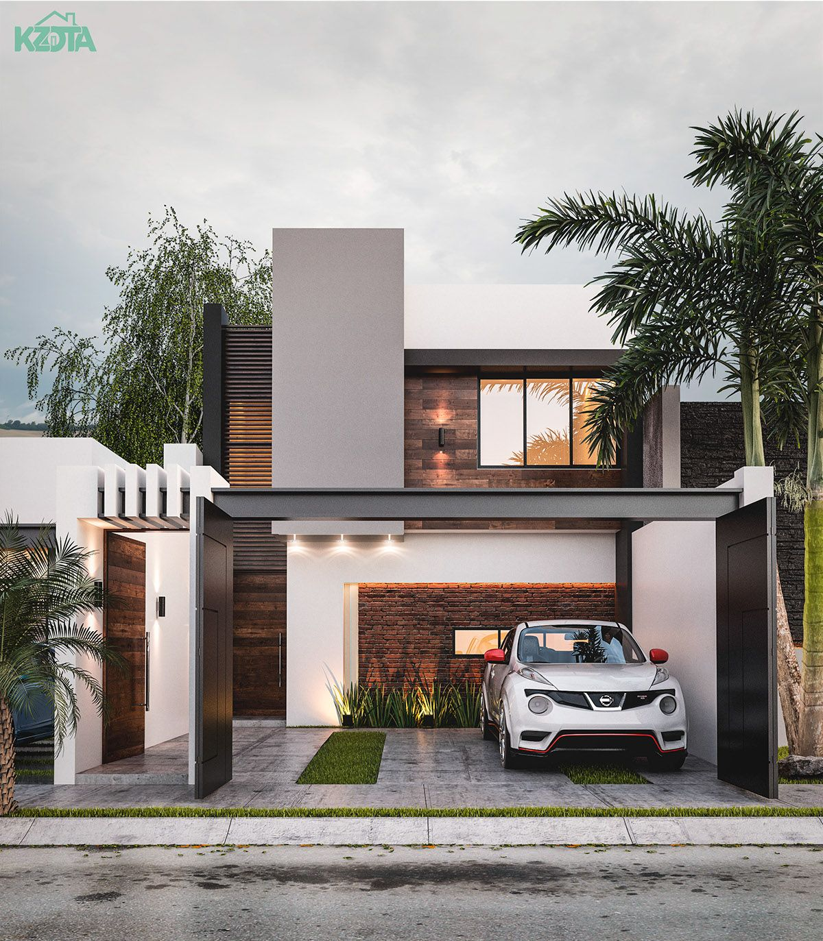 "Simple House Exterior Design: HOUSE ""L5"" On Behance In 2019"