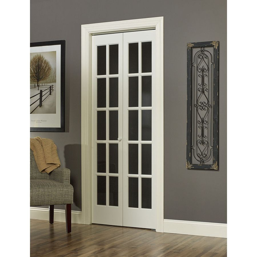 Shop pinecroft solid core 10 lite pine bi fold closet for Bifold french doors lowes