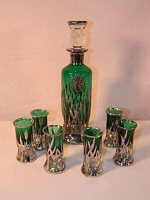 Vintage Rockwell Sterling Silver Overlay Green Glass Art