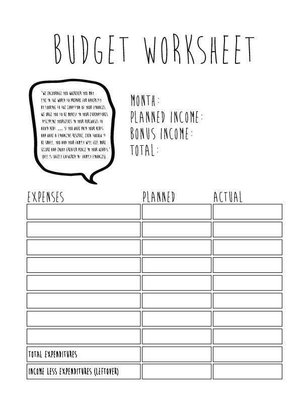 teenage budgeting worksheets