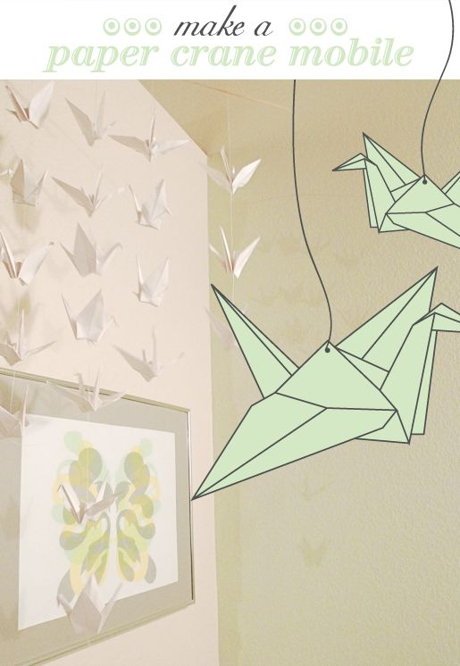 How to make your own paper crane mobile. My dad asked me ...