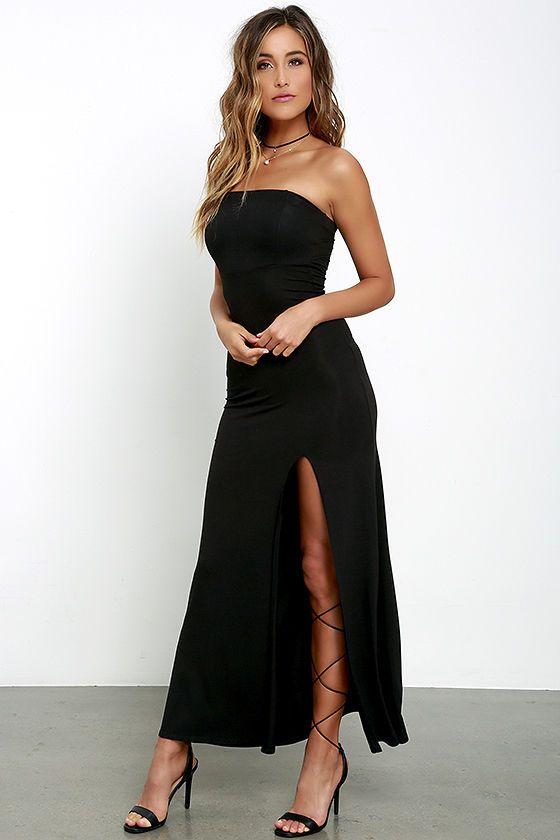 Black jersey strapless maxi dress