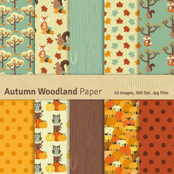 """Autumn Woodland Digital Papers. """"WOODLAND ANIMALS"""". Fall Papers, Fox, Squirrel. 10 images, 300 Dpi. Jpg files. Instant Download."""