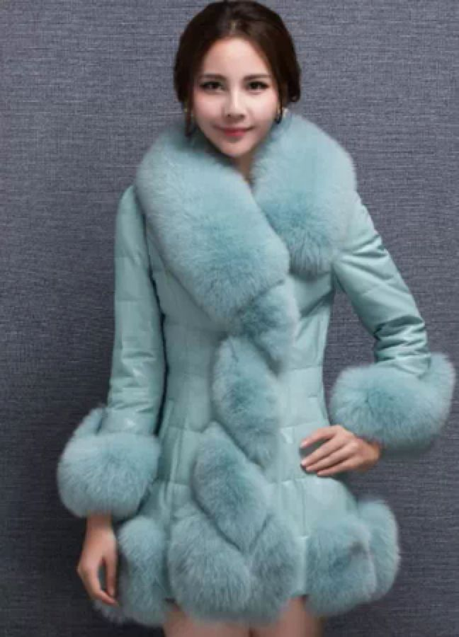 Leather 2016 New European Sheep Faux Leather Fox Fur