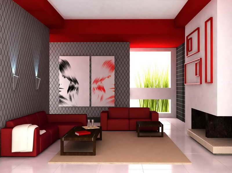 Living Room, The Breathtaking Design Of Living Room With Red Wall And Gray  Wall With