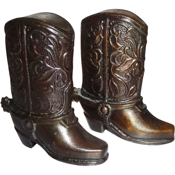 Vintage Metal Cowboy Boots Salt and Pepper Shakers