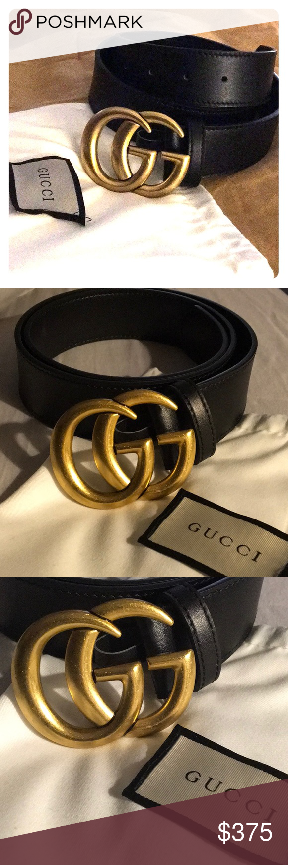 54f569cb7 Brand new GUCCI leather belt 11/2 inch black leather GUCCI Belt, bran new!  Size 85/34 meaning small Beautiful gold doble G bucle. It has its bag.