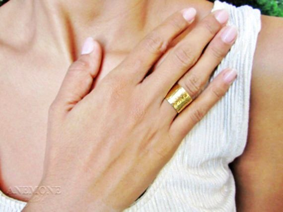 Wide Hammered Gold Ring 14k Filled Bridal