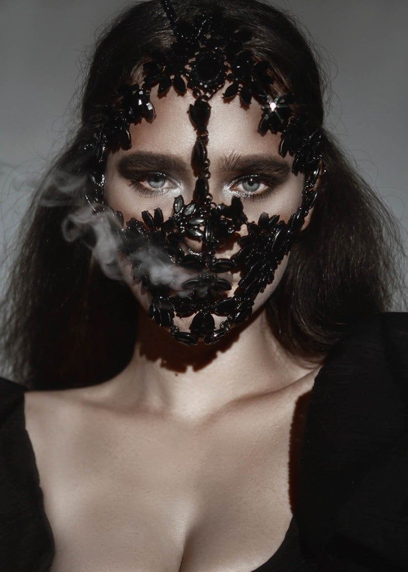Luxury Black & Gold Reptile Designer Face Mask with Filter
