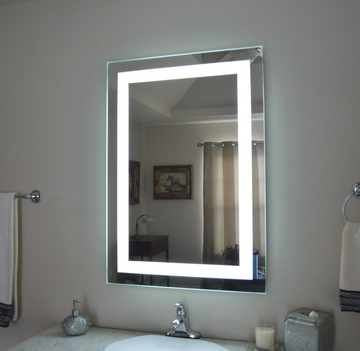 Mirrored Bathroom Furniture Two In One In 2020 Lighted Vanity